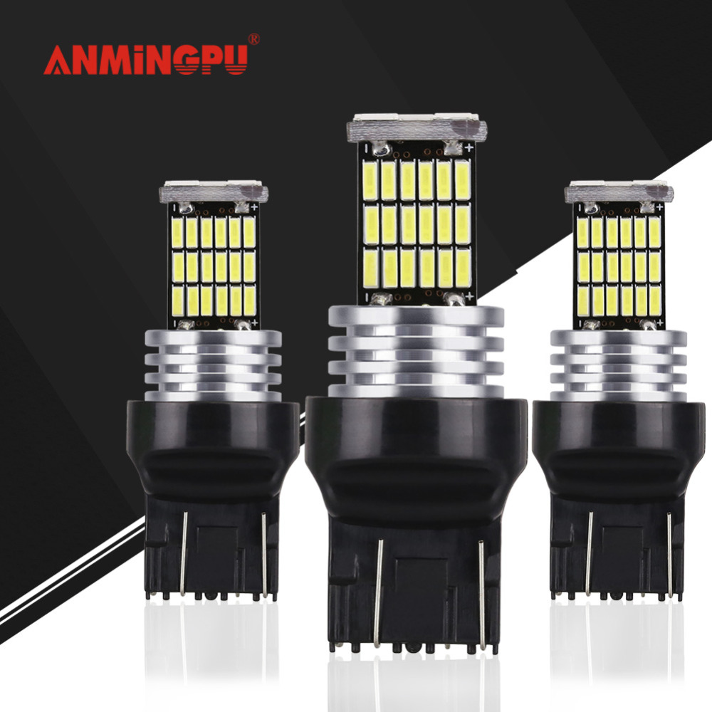 ANMINGPU 2x Signal Lamp T20 Led Bulb W21/5W 7443 Led 7440 W21W WY21W Brake Reverse Parking Lights Turn Signal Lamp For Car White