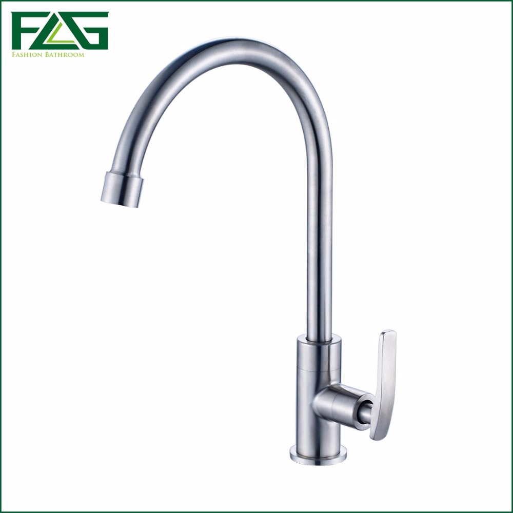 FLG High Quality Total 304 Stainless Steel No Lead Kitchen Sink Tap Single Cold 360 Swivel