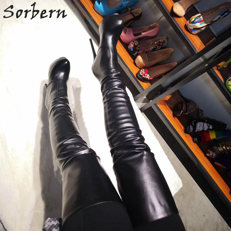 Sorbern Classical Mid Thigh High Boot For Women Hidden Platform High Heel Boots Custom Wide Calf Over The Knee Boots For Women
