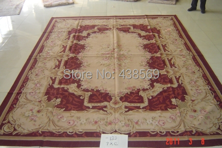 Us 189905 5 Offfree Shipping 9x12 Aubusson Rugs Woolen Carpets Dark Red Color Shabby Chic Carpets In Carpet From Home Garden On Aliexpresscom