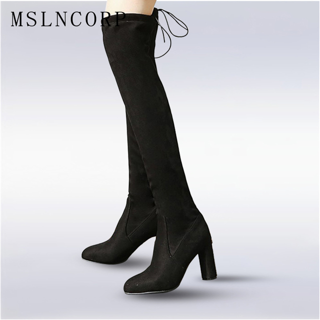 712ab2c914e Plus Size 34-48 Faux Suede Women Boots Shoes Winter Sexy Stretch Over Thigh  The