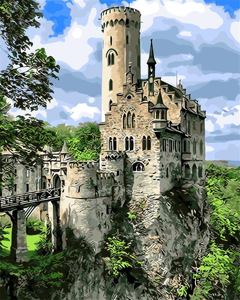 Het landschap van het junglekasteel Schilderij door aantallen Verf op - Huisdecoratie