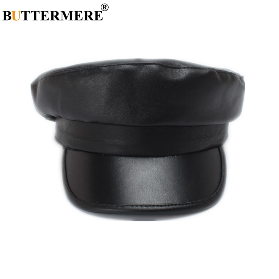 Buttermere Black Leather Military Hat Women Army Cap