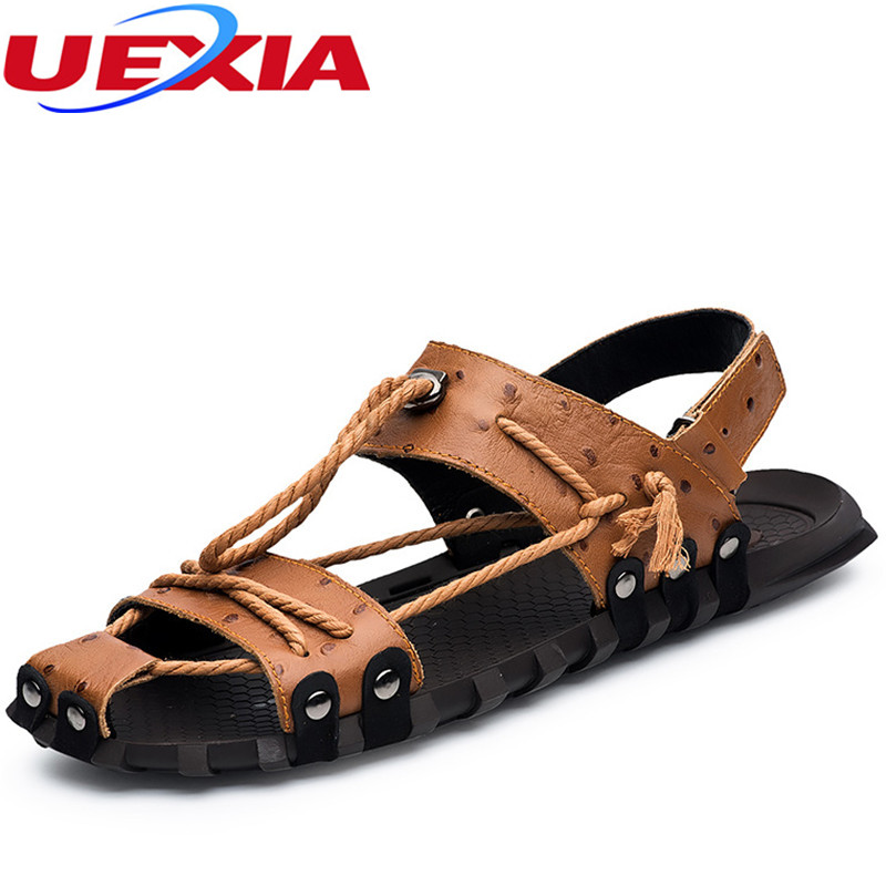 Brand Top Leather Sandals Man Fashion Summer Shoes Straw Sole Beach Flip flops Gladiator Breathable Comfortable Casual Walking