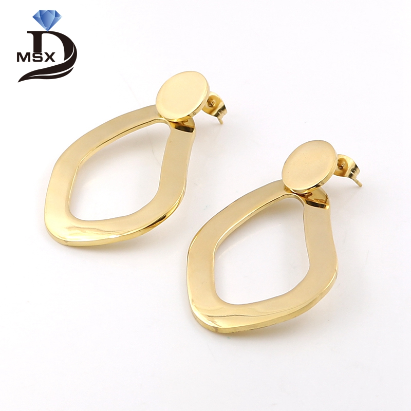 MSX Fashion Big Gold Earrings Gift Round Design Stud Earrings For Women Ladies Beauty Fashion Charm Stainless Steel Jewelry 2017