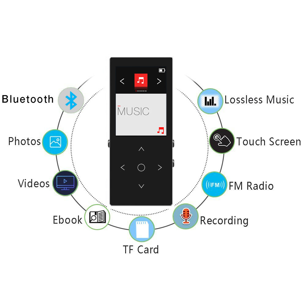 Original mp4 player bluetooth speaker with 16gb hifi metal lossless hiag quality sound music player video audio medio play MP4
