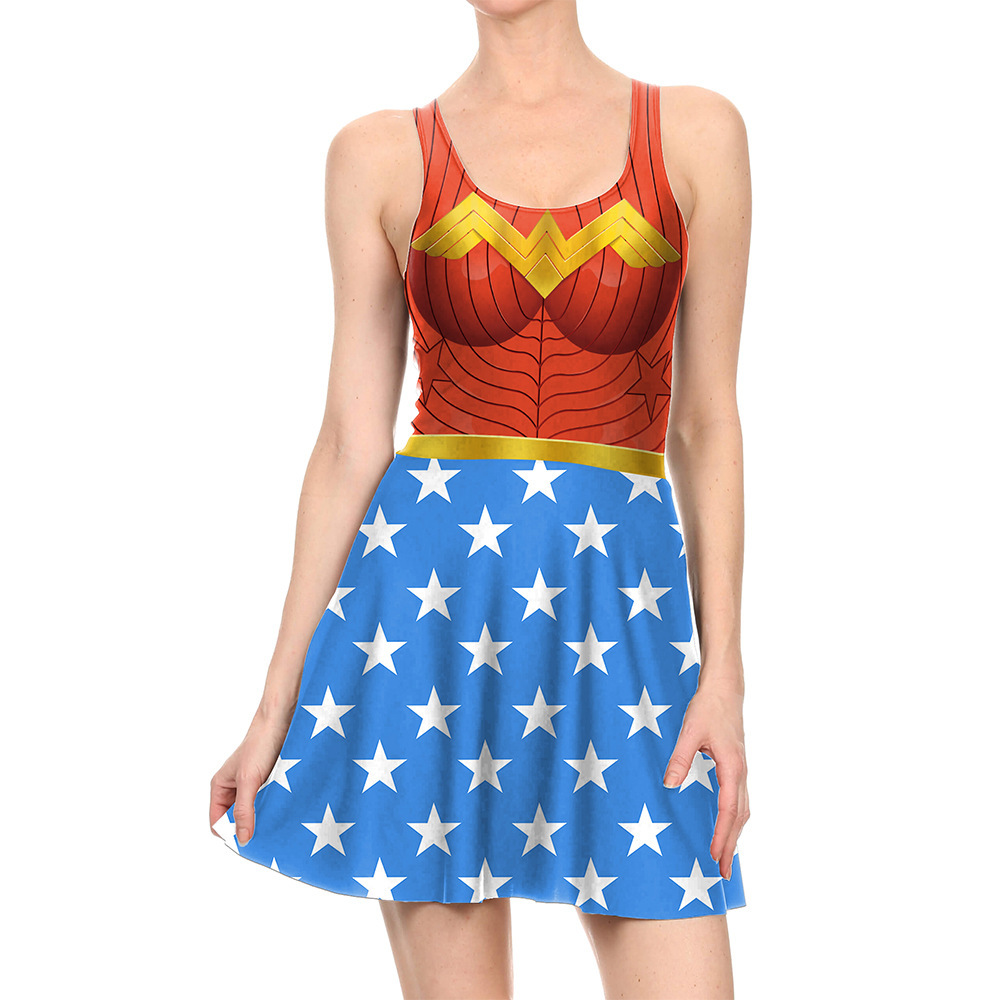 2017 New Wonder Woman Cosplay Costume Sexy Dress Superman Vest Skirt