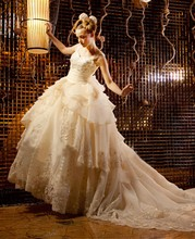 Free Shipping Expensive Ball Gown Puffy Beaded Appliques Organza Cathedral/Royal Train Long Train Wedding Dresses CMY005