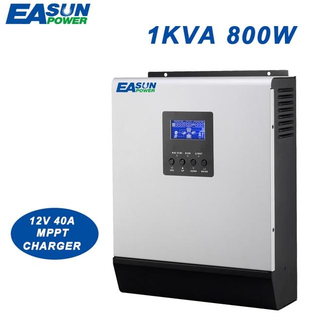 EASUN POWER 800W MPPT Solar Inverter 1Kva 12V Pure Sine Wave Inverter 40A Off Grid Inverter 230V Hybrid Inverter 20A AC Charger