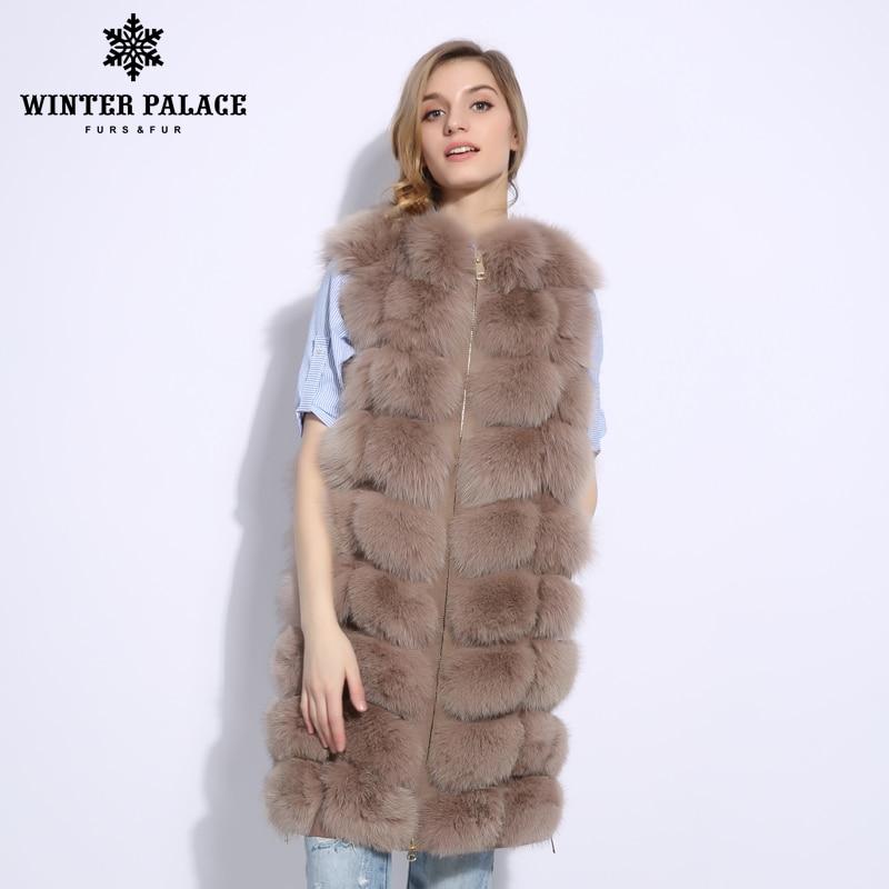 2017 Tendance longue fourrure de renard gilet De Mode réel gilet fourrure de renard Mince fourrure de renard gilet femmes Chaud manteau de fourrure D'HIVER PALAIS
