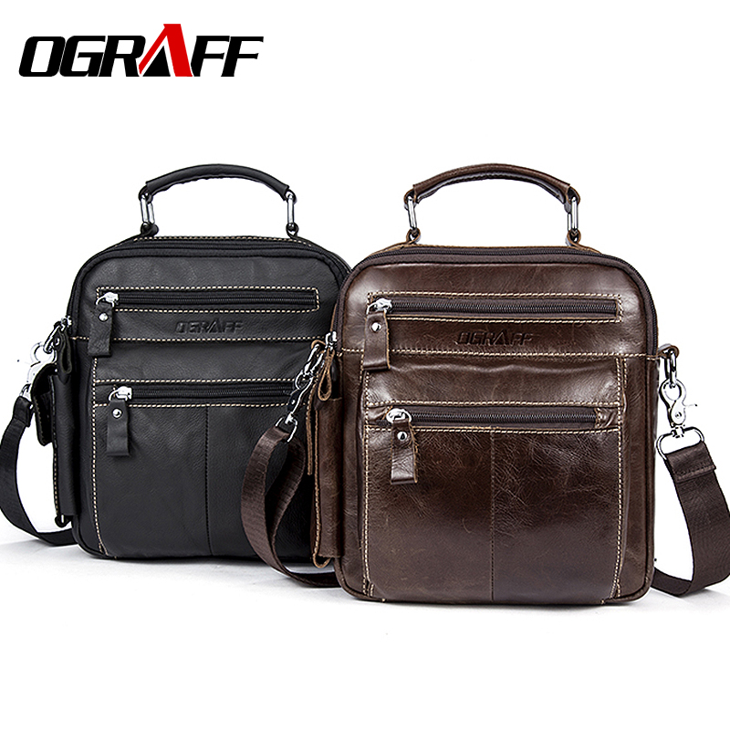 OGRAFF Handbags Messenger Bag Men Leather Handbags Briefcase Genuine Leather Bags Men Shoulder Bag Brand Designer Small Bags