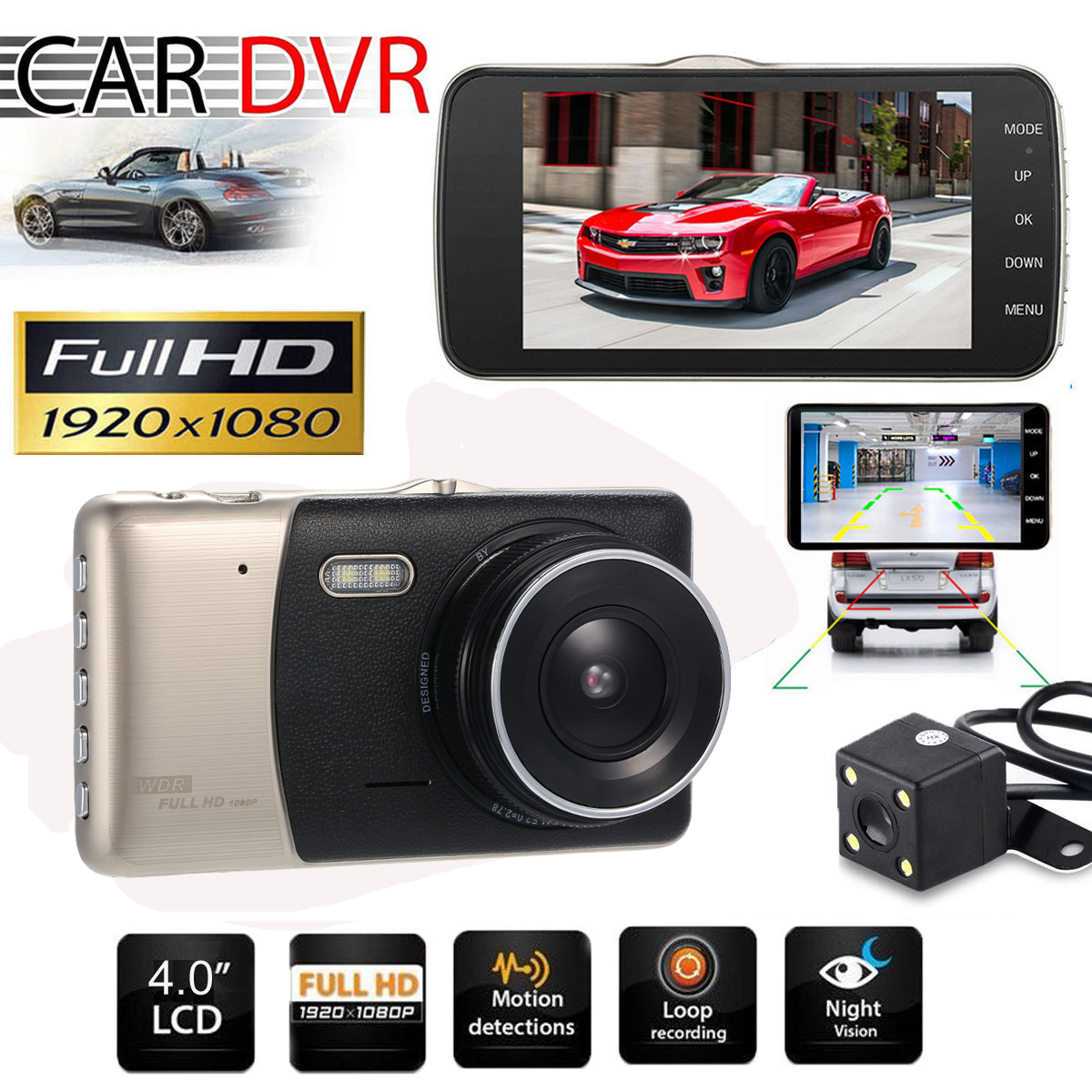 4 Dual Lens Car DVR Camera Dash Cam Video Camcorder GPS Navigation Rear View Mirror with Rearview Camera with LED Night Vision