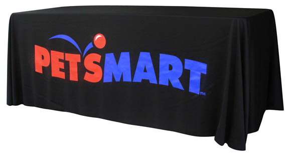 8 Custom Print Logo Table Skin, Full Side Table Throw, Table Cover for Trade Show, 4 Sides