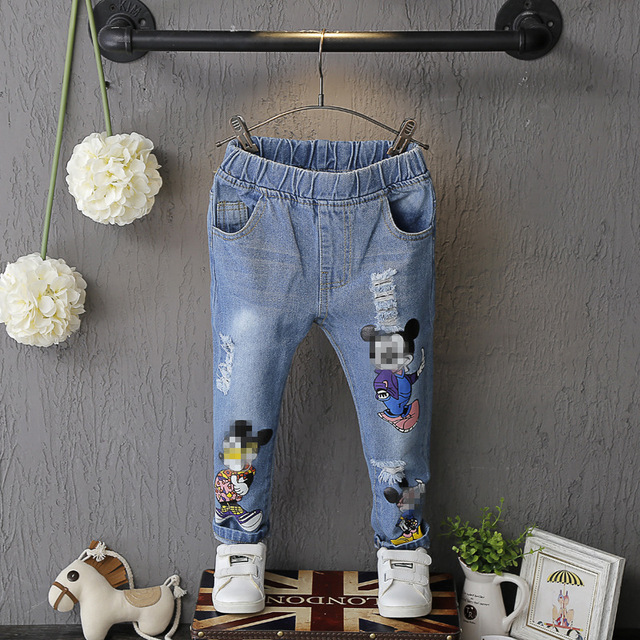 New girls cartoon demin trousers children jeans kids casual pants spring autumn baby pants summer printed mickey pant 16A12