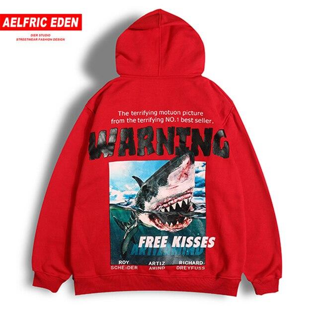 4780b0d9383be Aelfric Eden 3d tiburón advertencia impresa sudaderas con capucha de lana  2018 sudaderas Otoño e Invierno