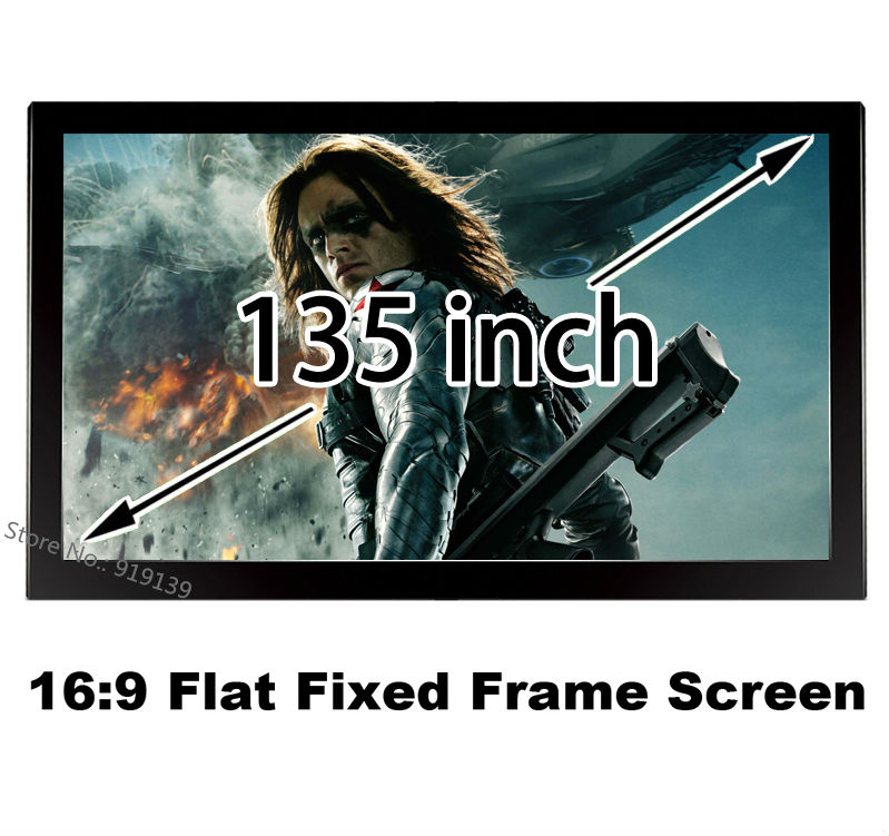 Big Cinema Size 135 Inch Flat Fixed Frame Screen 16:9 Wall Mount Projector Screens Amazing Image For 3D Cinema Quality Guarantee low price 92 inch flat fixed projector screen diy 4 black velevt frames 16 9 format projection for cinema theater office room