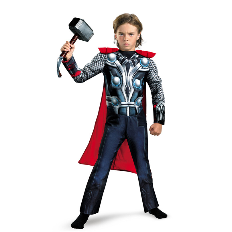 Boys Classic Muscle Thor Costume Kids The Avengers Thor Muscle Cosplay Avengers Superheroe Cosplay Fancy Dress Kids Purim Gift