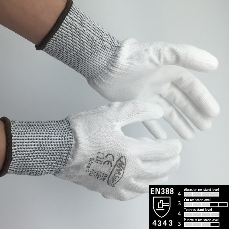 NMSafety Cut Resistant Gloves-High Performance Level 3 White Protection Gloves