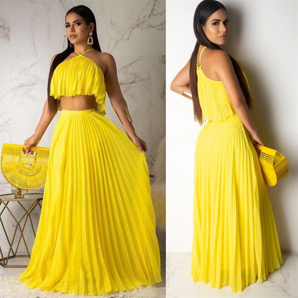 Summer Women Off Shoulder Crop Top Pleated Long Skirt 2 Piece Sets Neon Yellow Chiffon Beach Outfit