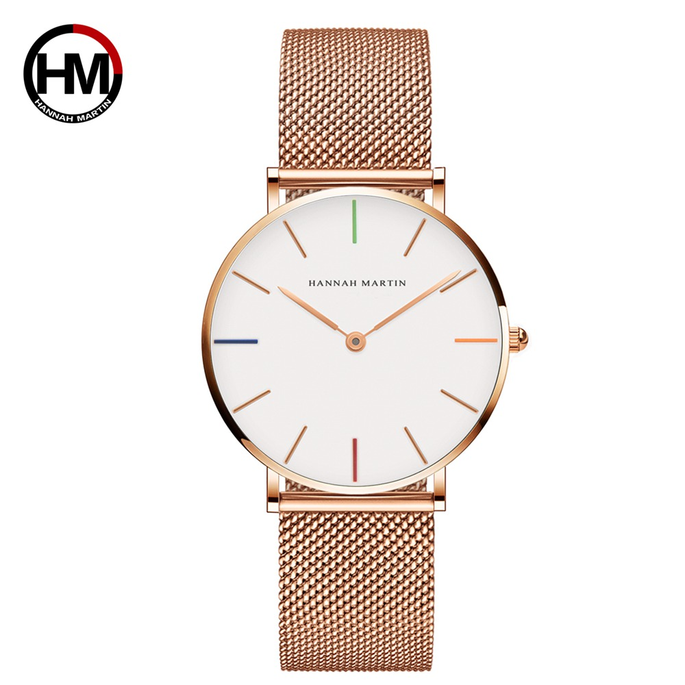 Ladies Watch Mesh 36mm Hannah Martin Rose-Gold Stainless-Steel Waterproof Japan High-Quality