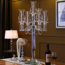 102cm Crystal Candelabra for Wedding Centerpieces with cylinder hurricanes 5 arms floor stand Demountable Handmade Candlestick