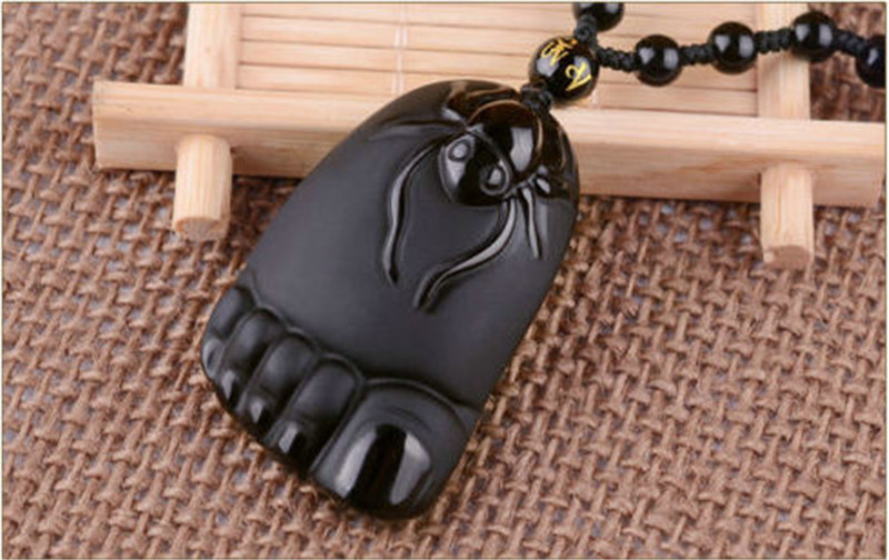 Obsidian Black Jade Agate Pendant spider foot Contentment happiness