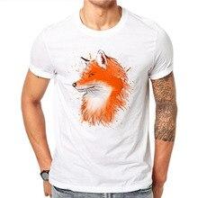 960d189c 100% Cotton Kawaii Cute Japanese Anime T Shirt Summer Men Short Sleeve  Watercolor Fox 3D