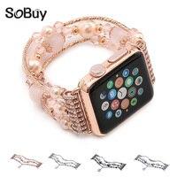 IDG For Apple Watch Metal Strap Women S Jewelry Bracelet Iwatch Agate Gemstone Wrist Strap 1