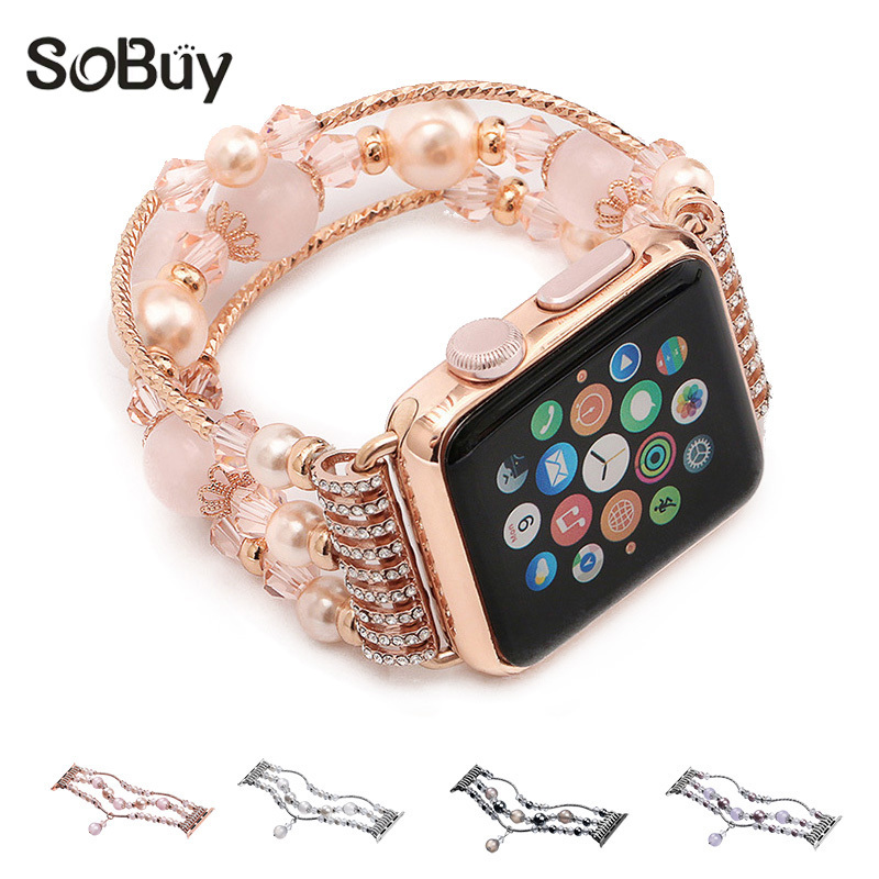 So buy for apple watch metal strap women jewelry bracelet iwatch series 3/2/1 belt Agate gem wriststrap 38mm watchband 42mm band so buy for apple watch series 3 2 1 watchbands 38mm belt 42mm stainless steel bracelet milanese loop strap for iwatch metal band