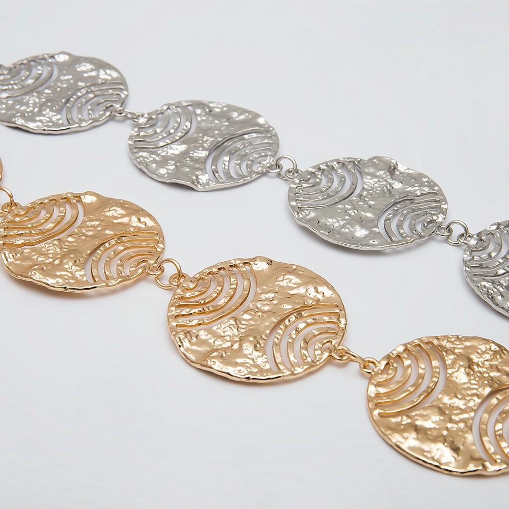 IngeSight Z Retro Aluminium Chain Body Chain Belt Sexy Harness Alloy Round Hollow Coin Waist Belly Chain for Women Body Jewelry