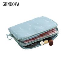 Travel Double-Decker dokument torba Travel Passport portfel wielofunkcyjny używany do przechowywania dowód osobisty ładowarka kosmetyczka Organizator torba tanie tanio Akcesoria podróżne 14cm 19 5 cm Portfele paszportowe Kwiatowy Z certyfikatem GENUOVA Poliester 3 cm