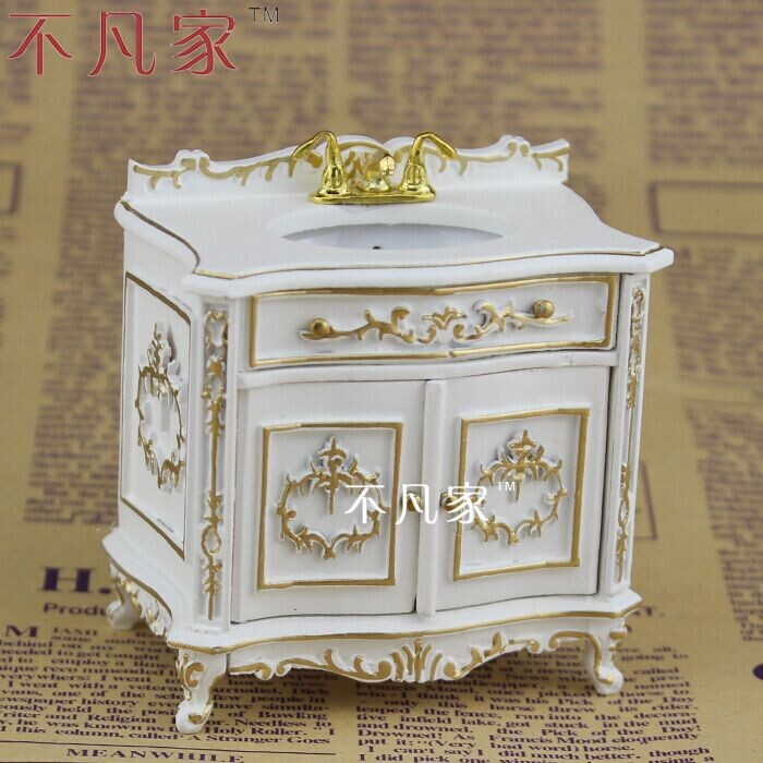 Elegant Dollhouse 1:12scale Fine Special Offer Miniature Furniture Paint In Gold  Sink(China)