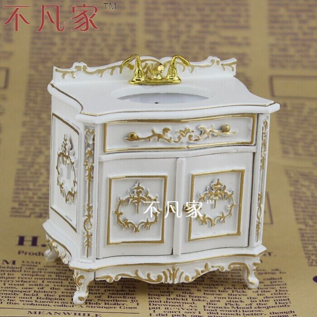 Superbe Dollhouse 1:12scale Fine Special Offer Miniature Furniture Paint In Gold  Sink