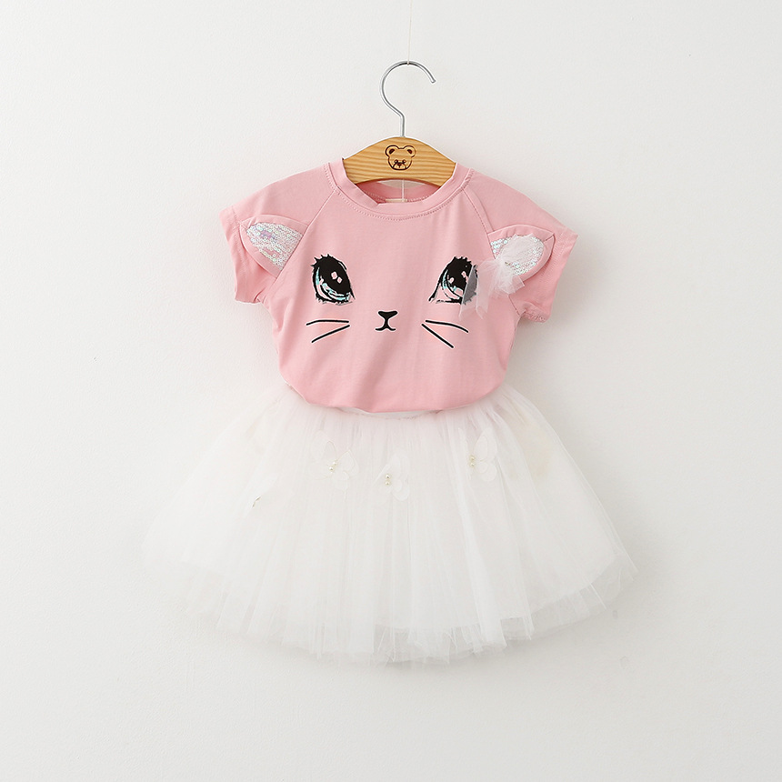 2018 spring and summer foreign trade explosion models summer girls short-sleeved suit cute cat T-shirts fluffy yarn skirt skirts