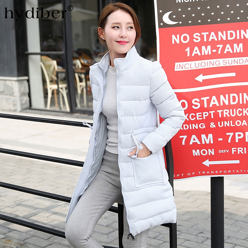 2016 Winter Coat Women Jacket Long Waffle Parkas Solid Stand Collar Cotton Padded Coat Jackets Elegant Wadded Warm Coats Tops short cotton parkas 2017 winter jacket women abrigos mujer stand collar outwear wadded padded jacket parkas winter coat c3396