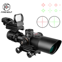 Fire Wolf 2.5 10x40 Sight Combination Suit Tactical Rifle Scope Laser Hunting illuminated Riflescope Sight+Reflex Red Dot