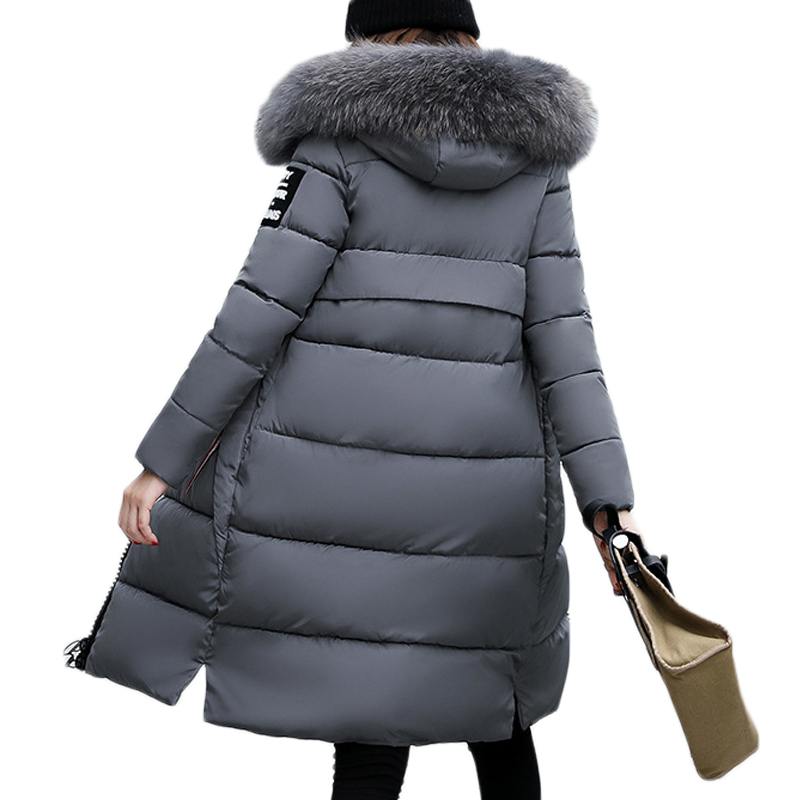 2019 New Fashion Warm Winter Jacket Women Big Fur Thick Slim Female Jacket Winter Women Hooded Coat Down   Parkas   Long Outerwear