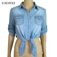 Women Blouses Denim Shirt Fashion 2017 Spring Summer Cotton Half Sleeve Jeans Blouse Female Plus Size