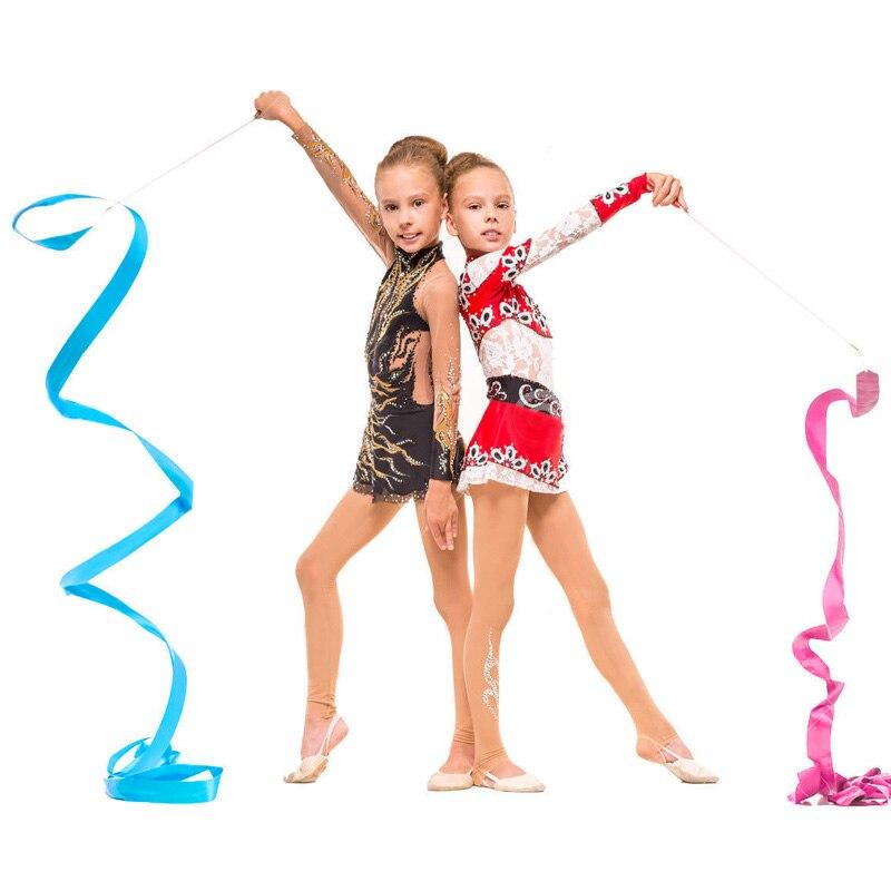 4Mx50CM Newly Design Dance Ribbon Gym Rhythmic Gymnastics Rod Art Ballet Twirling Stick 4m  YS-BUY