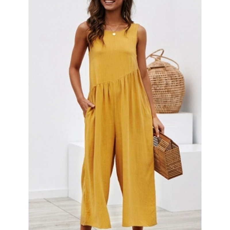 Women Sexy Sleeveless Backless Jumpsuits Wide Leg Solid Jumpsuit Casual Loose Pocket Basic Ladies Romper Jumpsuits Office Lady
