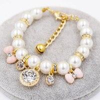 Benmei diamante perla Collar para mascotas pequeño perro gato arco intermitente pequeña campana collar lindo para mascotas gato colgante sin caja