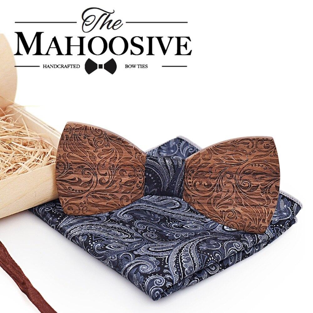 Holz Herren fliege Holz Hals Binden Set für Männer Anzüge Krawatte Taschentuch Manschettenknöpfe Gravatas Krawatten für Männer Hochzeit Vestidos corbatas