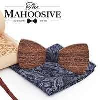 Wooden Mens bow Tie Wood Neck Tie Set for Men Suits Tie Handkerchief Cufflinks Gravatas Ties for Men Wedding Vestidos Corbatas
