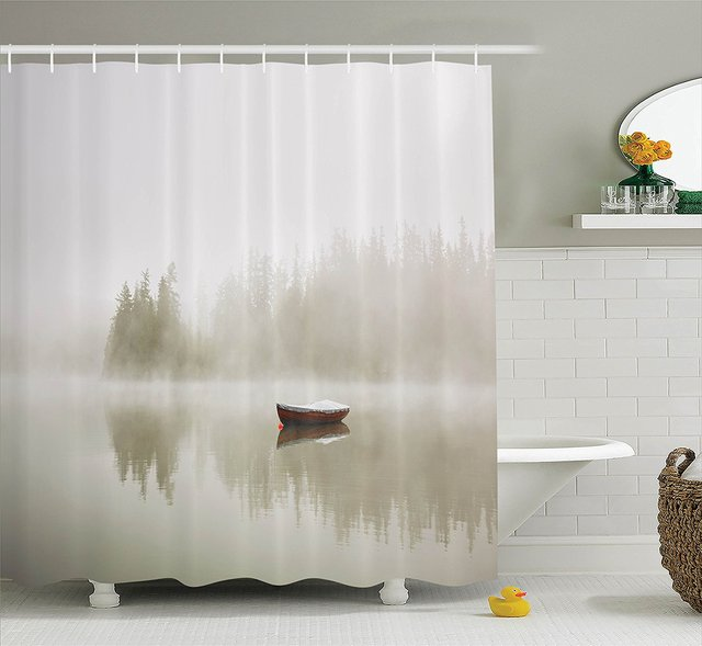 Memory Home Lake House Decor Shower Curtain Bathroom Accessories Sage Green Natural Scenery