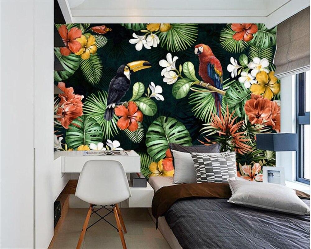Beibehang Foto papel de parede pintura papagaio tropical floresta tropical planta quarto de criança desenho animado papel de parede de decoração para casa mural