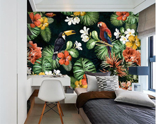 Beibehang Photo wallpaper painting parrot tropical rainforest plant cartoon child room home decoration mural