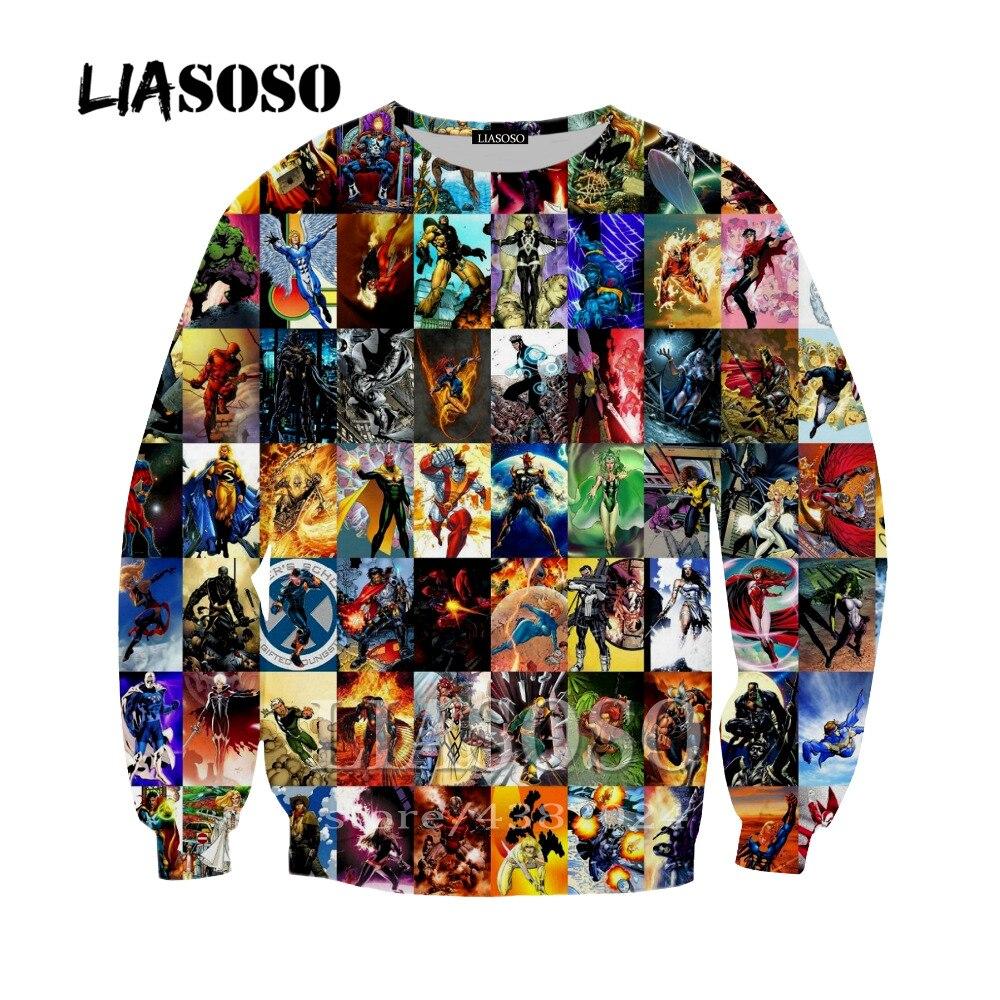 LIASOSO Harajuku Hip Hop Men Women 3D Print Deadpool Spiderman Hoodie Streetweart Men Cartoon Hooded Sweatshirts Clothing Y361