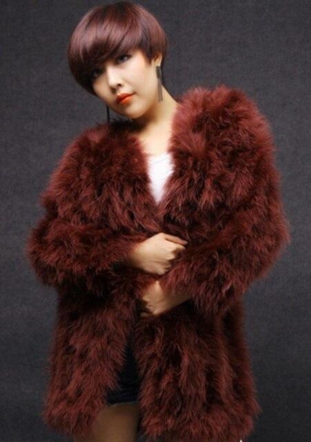 Free Shipping New Arrival Women's Ostrich Fur Coat Long Wool Fur Overcoat Winter Ostrich Fur Jacket