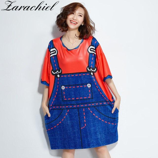5061f2357805 Plus Size 5XL 2018 Summer Women Fashion 3D Jean Print Shirt Dress Big Size  Kawaii Oversize Dress Half Sleeve Summer Long Top