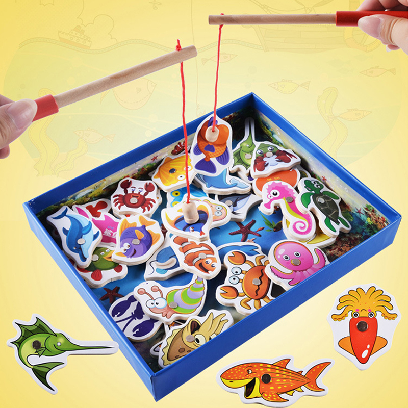 32 Pcs Box Wooden Magnetic Fishing Toy Set Baby Kids Educational Funny Fish Game Toys for Children Birthday Gift Outdoor Toy